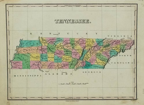 1824 Finley Map of Tennessee