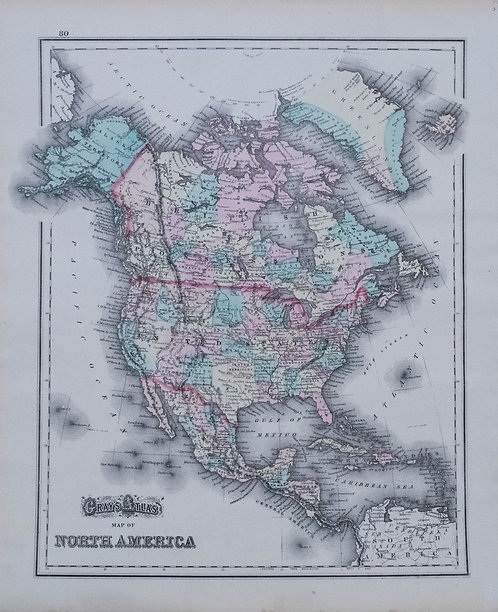 1870 Gray Map of North/South America