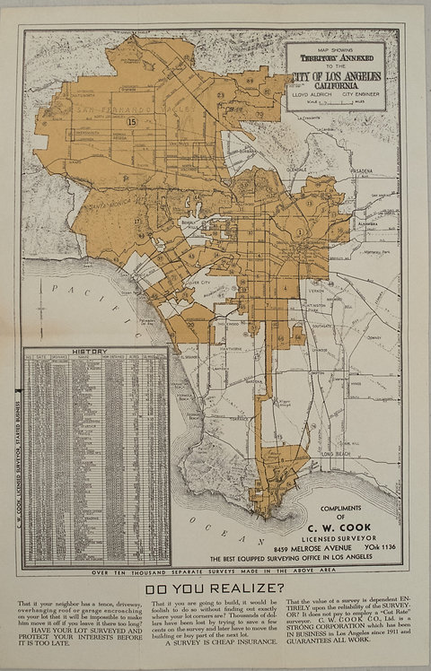 1935 Aldrich Map of Los Angeles