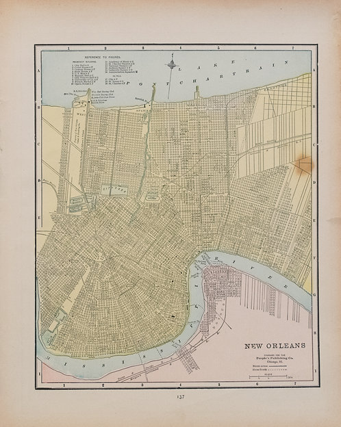 1886 Crams's Map of New Orleans verso Atlanta