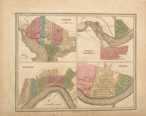 1846 Bradford Map of Four Key US Cities