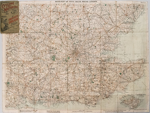 1915 Bacon Map of South East England for Cyclists and Autos