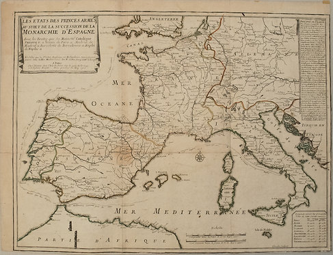 1702 deFer Map of Spain, Portugal, France and Italy