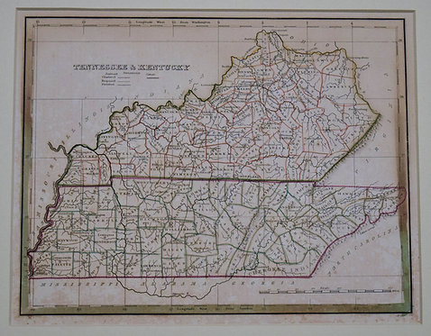 1835 Bradford Map of Kentucky and Tennessee