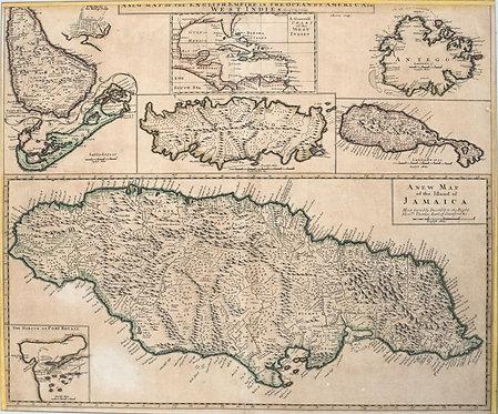 1721 Senex Map of British Caribbean Islands
