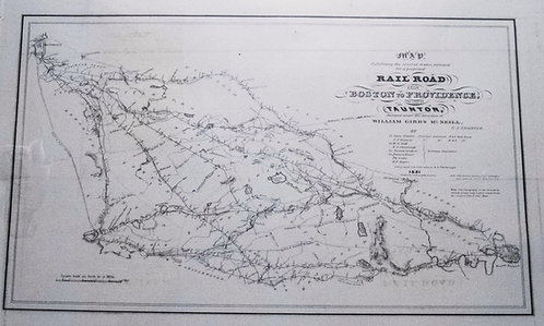 1831 Map of a Very Early New England Railroad Plan