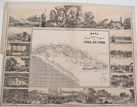 1850 May Map of Cuba with Vignettes of Cuban Life