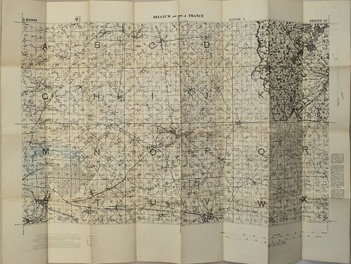 1917 British Military Map of Northern France and Southern Belgium (Sheet 27)