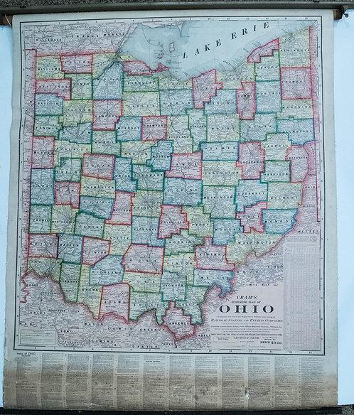 1901 Cram's Ohio Railroad Retractable Wall Map