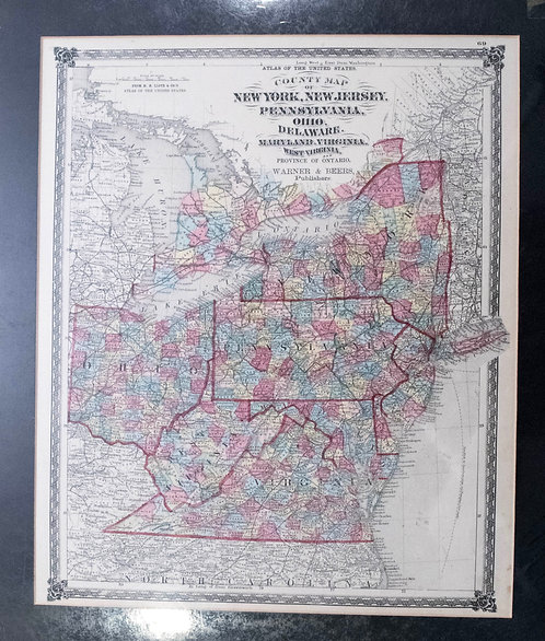 1875 Warner Bees Map: Mid Atlantic and Midwest US