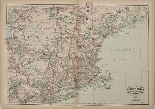 1872 Asher and Adams Map of New England States