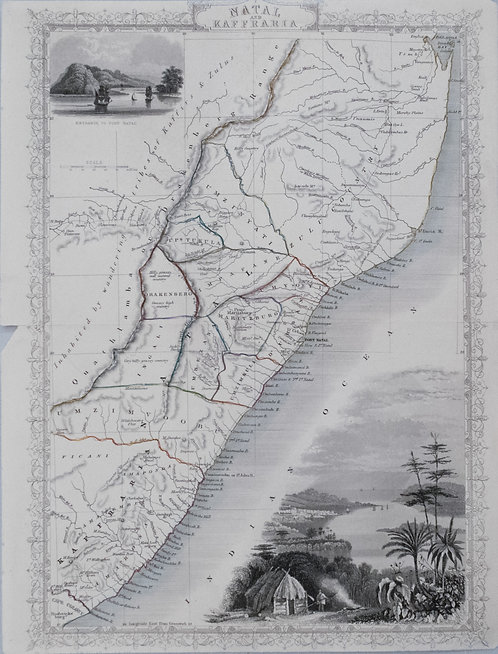 1851 Tallis Map of Natal and Mozambique