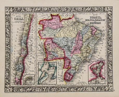 1860 Mitchell:Brazil,Chile,Bolivia,Uruguay,Paraq'y