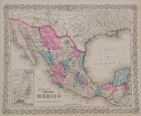 1854 Colton Map of Mexico
