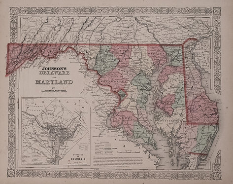 1863 Johnson Map of Maryland and Delaware
