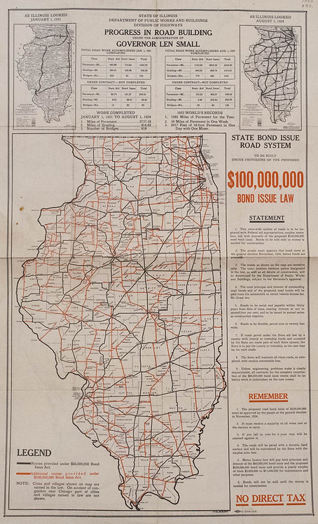 1924 Illinois Road Progress Folding Map