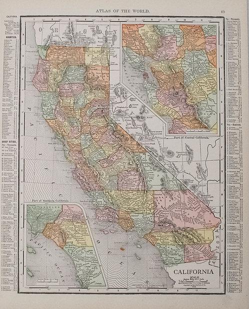 1910 McNally Map of San Francisco and California