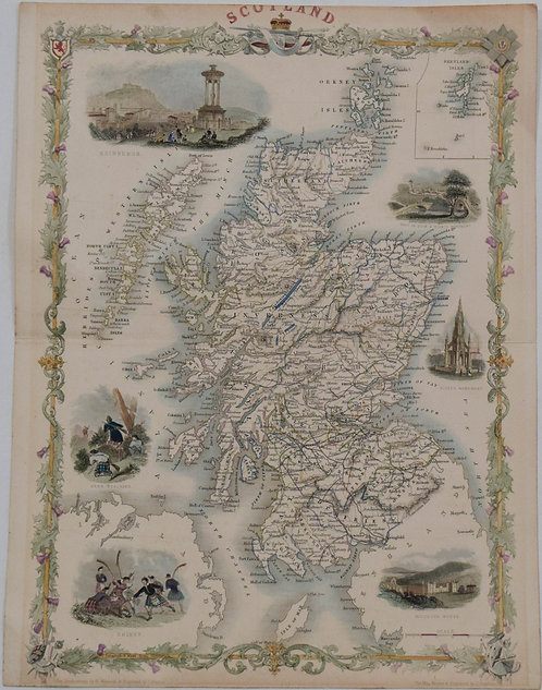 1851 Tallis Map of Scotland