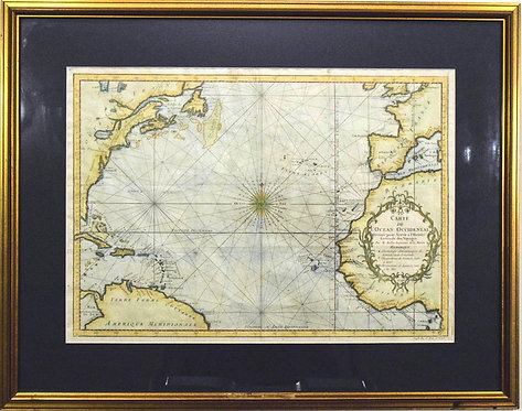 1746 Bellin Colorful Map of the North Atlantic