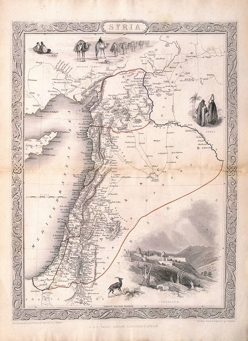1851 Tallis Map of Syria / Israel