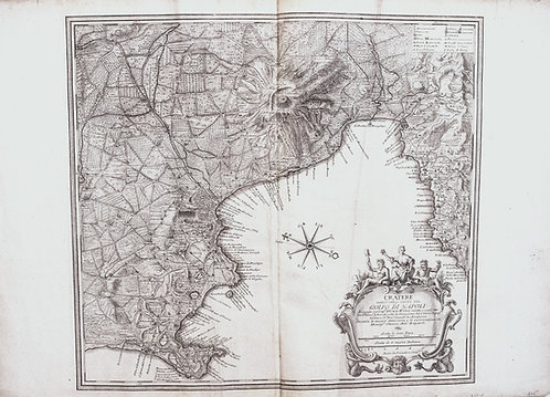 1754 Gaultier Large Map of Naples, Italy