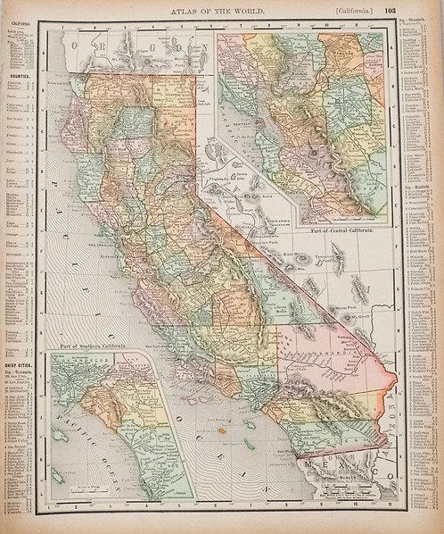 1895 Rand McNally Map of California and [verso] San Francisco