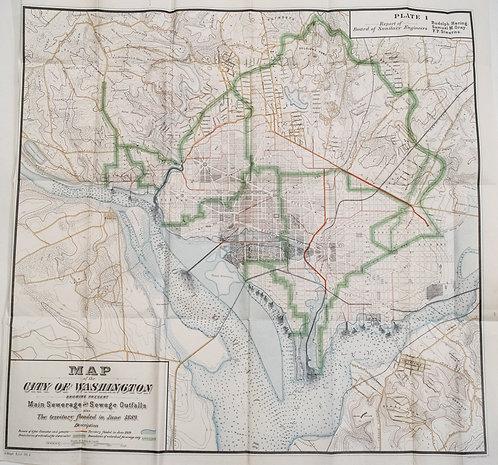 1890 Hoen Map of Washington Sewage System