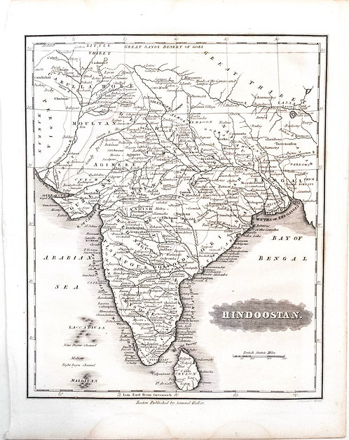 1834 M Malte-Brun/S Walker Map of India
