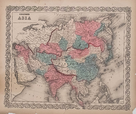 1856 Colton Map of Asia