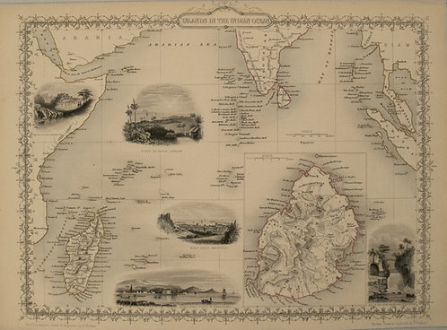 1851 Tallis Map of Islands in the Indian Ocean