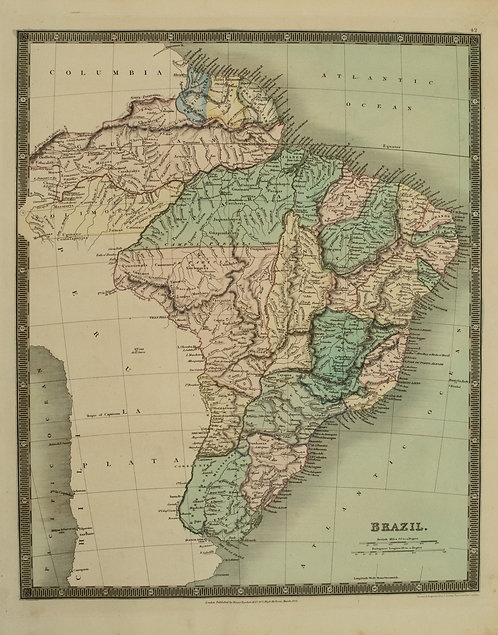 1831 Teesdale Map of Brazil