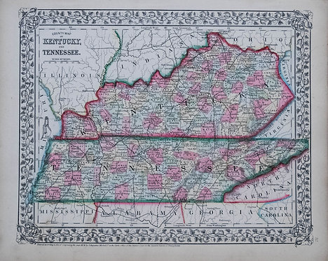 1871 Mitchell Map of Kentucky and Tennessee