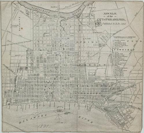 1831 Map of Philadelphia by De Silver