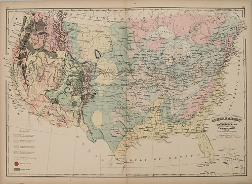 1872 Asher and Adams Geological Map of United States