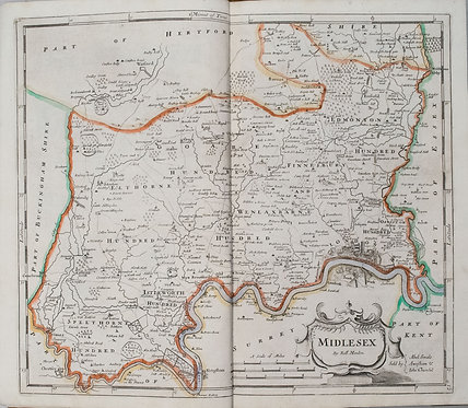 1722 Morden Map of Middlesex (London) UK