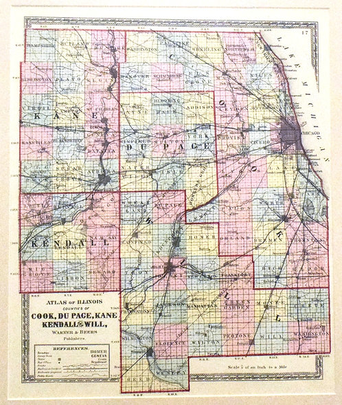 1875 Map of Cook, duPage, Kane, Kendallm Will Co.