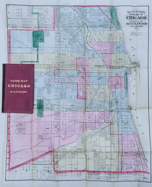 1872 Blanchard's Chicago Map 1 Year After the Fire on