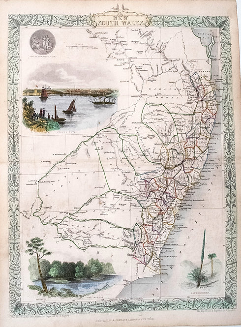 1855 Tallis Map of New South Wales, Australia