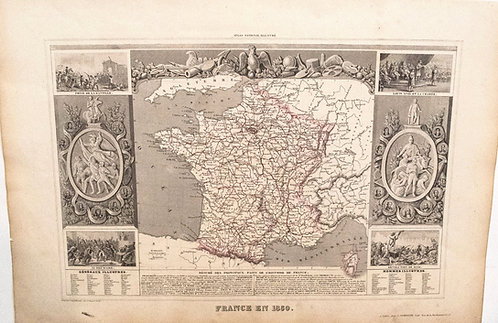 1850 Levasseur Map of France