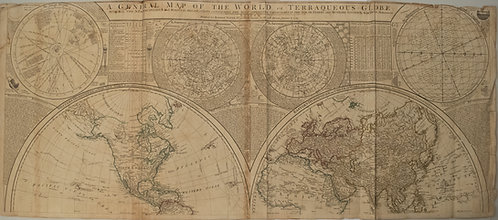 1787 Dunn Map of the World on Two Hemispheres and Celestial Maps