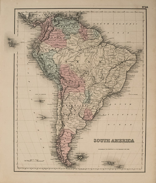 1857 Colton Map of South America