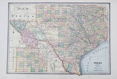 1886 Cram Map: Texas/Arkansas, Indian Territory