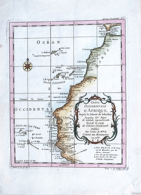 1750 Bellin Map of Northwest Africa & Canary Isles