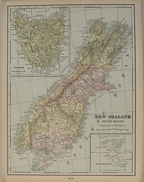 1901 Cram Map of Queensland, New Zealand's South Island and Tasmania
