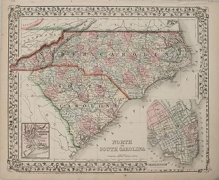 1867 Mitchell Map of North and South Carolina