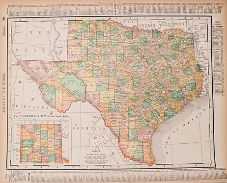 1896 Rand McNally Map of Texas and Indian Territory/Oklahoma