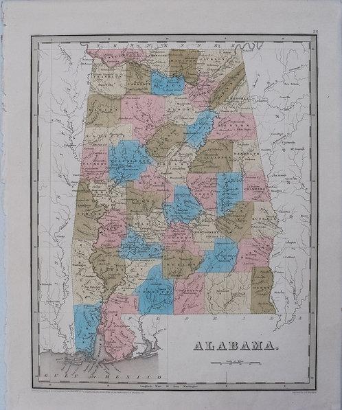 1838 Bradford Map of Alabama