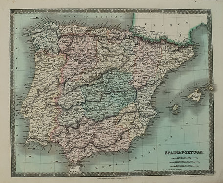 1831 Teesdale Map of Spain and Portugal