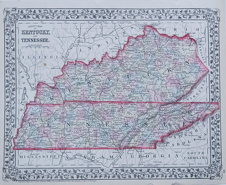 1874 Mitchell Map of Kentucky and Tennessee