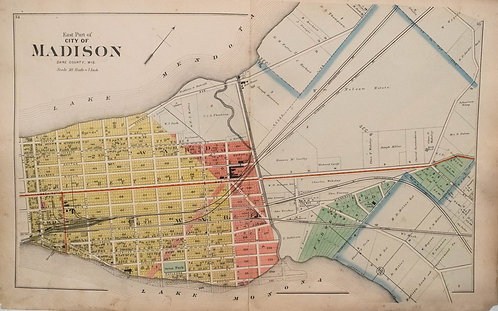 1890 Foote Map of Madison, Wisconsin
